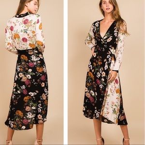 Unique Floral Wrap Dress L Anthropologie Brand